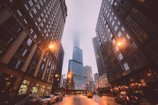 Chicago City Street At Dusk With Mist And Trump Tower_